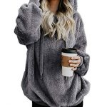 iWoo Teddy Fleece Sweatshirts Womens Casual Double Fuzzy Fluffy Hoodie Solid Color Warm Stylish 1/4 Zip Pullover with… 25