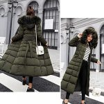 kisshes Women Ladies Long Padded Puffer Coat Winter Warm Cotton Quilted Jacket Parka with Removable Faux Fur Hood 14