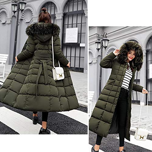 kisshes Women Ladies Long Padded Puffer Coat Winter Warm Cotton Quilted Jacket Parka with Removable Faux Fur Hood 3