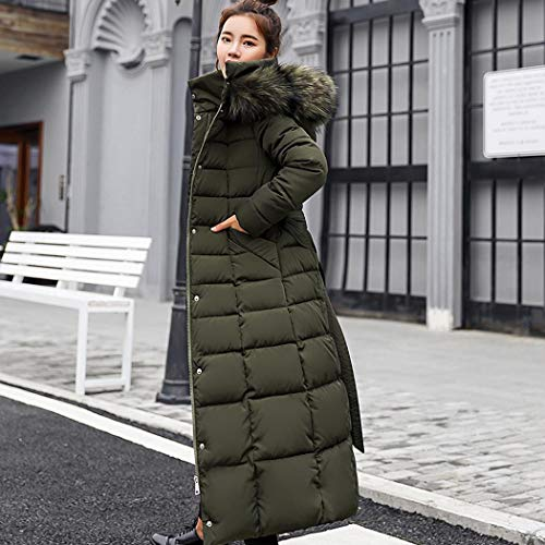 kisshes Women Ladies Long Padded Puffer Coat Winter Warm Cotton Quilted Jacket Parka with Removable Faux Fur Hood 5