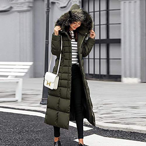 kisshes Women Ladies Long Padded Puffer Coat Winter Warm Cotton Quilted Jacket Parka with Removable Faux Fur Hood 6