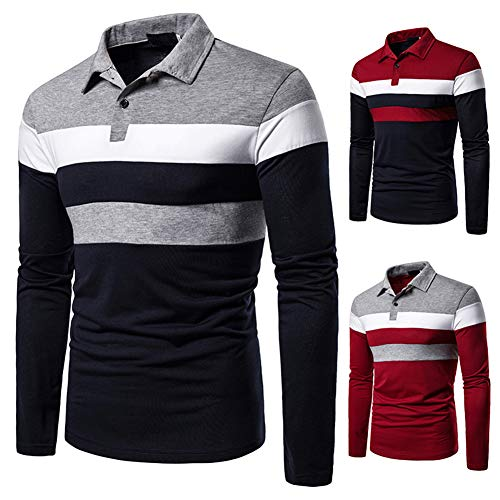 lymoo Mens Fashion Polo Shirts Rugby Shirts Patchwork Long/Short Sleeve Tops 3