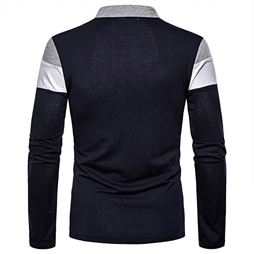 lymoo Mens Fashion Polo Shirts Rugby Shirts Patchwork Long/Short Sleeve Tops 4