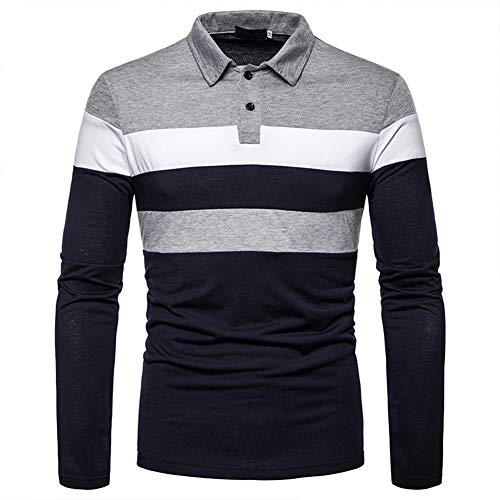 lymoo Mens Fashion Polo Shirts Rugby Shirts Patchwork Long/Short Sleeve Tops 1