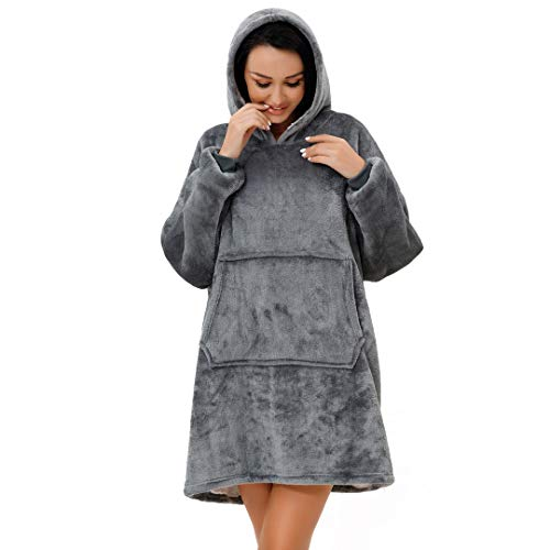 rejuvopdeic Deluxe Range Of Adult Hoodie Charcoal Blankets, Velvet Touch Fabric With Ultra Soft Sherpa Fleece lining… 3