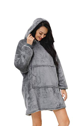 rejuvopdeic Deluxe Range Of Adult Hoodie Charcoal Blankets, Velvet Touch Fabric With Ultra Soft Sherpa Fleece lining… 4