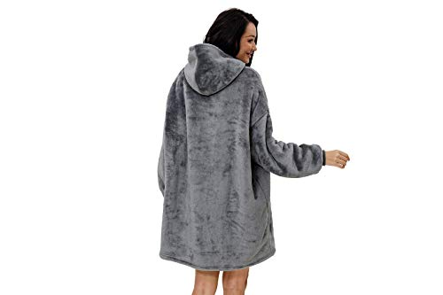 rejuvopdeic Deluxe Range Of Adult Hoodie Charcoal Blankets, Velvet Touch Fabric With Ultra Soft Sherpa Fleece lining… 5