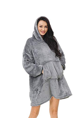 rejuvopdeic Deluxe Range Of Adult Hoodie Charcoal Blankets, Velvet Touch Fabric With Ultra Soft Sherpa Fleece lining… 7