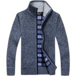 westAce Mens Zip Up Thick Fleece Lined Winter Knitted Cardigan Classic Jumper Cardigan 9