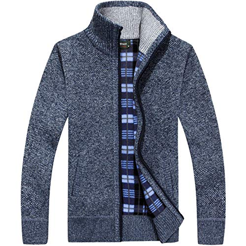 westAce Mens Zip Up Thick Fleece Lined Winter Knitted Cardigan Classic Jumper Cardigan 1