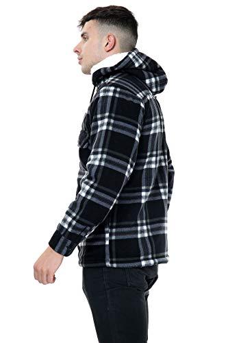 xpaccessories Mens Check Hooded Fleece Padded Jacket Tartan Pocket Winter Warm Shirt 3