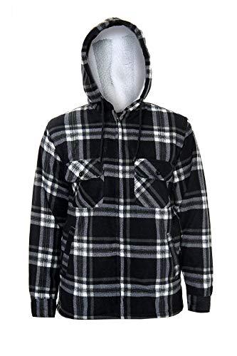 xpaccessories Mens Check Hooded Fleece Padded Jacket Tartan Pocket Winter Warm Shirt 4