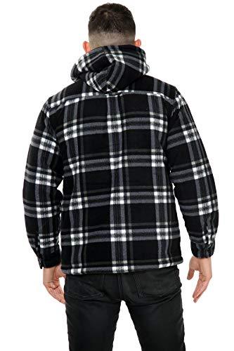 xpaccessories Mens Check Hooded Fleece Padded Jacket Tartan Pocket Winter Warm Shirt 5