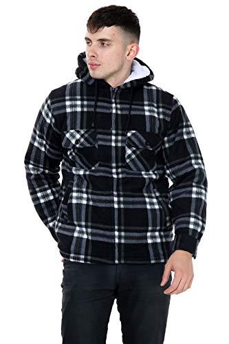xpaccessories Mens Check Hooded Fleece Padded Jacket Tartan Pocket Winter Warm Shirt 1