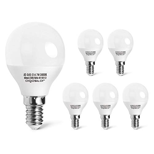 E14 Small Edison Screw Golf Ball Bulb, Aigostar G45 SES LED Light Bulbs 7W(43W Equivalent), 3000K Warm White E14 LED… 1
