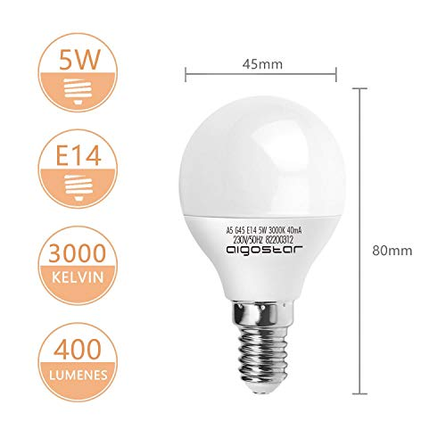 E14 Small Edison Screw Golf Ball Bulb, Aigostar A60 SES LED Light Bulbs 5W(35W Equivalent), 3000K Warm White E14 LED… 6