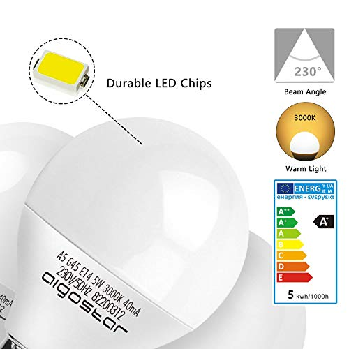 E14 Small Edison Screw Golf Ball Bulb, Aigostar A60 SES LED Light Bulbs 5W(35W Equivalent), 3000K Warm White E14 LED… 7
