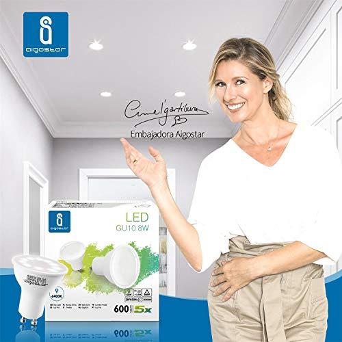 Aigostar GU10 LED Bulbs Cool White, 8W 6400K 600 Lumen, 5 Pcs/Box, 160° Beam Angle, Flicker Free [Energy Class A+] 3