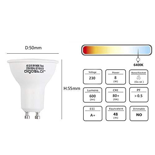 Aigostar GU10 LED Bulbs Cool White, 8W 6400K 600 Lumen, 5 Pcs/Box, 160° Beam Angle, Flicker Free [Energy Class A+] 5