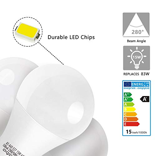 LED E27 Edison Screw Bulbs, Aigostar 15W A60 E27 Light Bulb, E27 Led Bulb Warm White 3000K Energy Saving Light Bulbs… 7