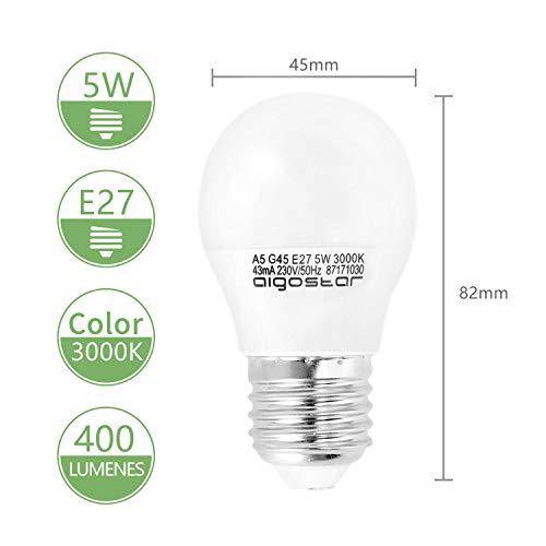 5W E27 Golf Ball Bulb, Aigostar G45 LED Lights Bulbs, 3000K Warm White Edison Screw Bulb 35W Incandescent Bulb… 4