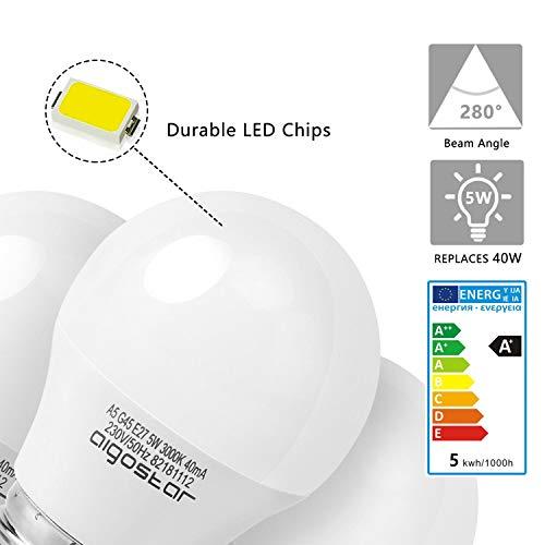 5W E27 Golf Ball Bulb, Aigostar G45 LED Lights Bulbs, 3000K Warm White Edison Screw Bulb 35W Incandescent Bulb… 5
