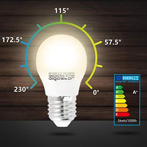 5W E27 Golf Ball Bulb, Aigostar G45 LED Lights Bulbs, 3000K Warm White Edison Screw Bulb 35W Incandescent Bulb… 8