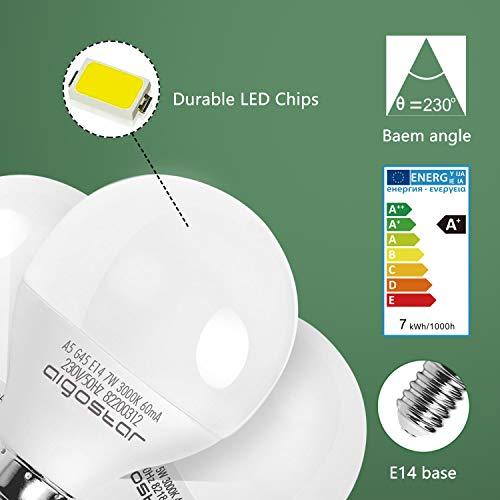 E14 Small Edison Screw Golf Ball Bulb, Aigostar G45 SES LED Light Bulbs 7W(43W Equivalent), 3000K Warm White E14 LED… 5