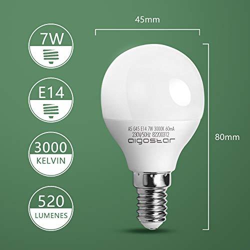 E14 Small Edison Screw Golf Ball Bulb, Aigostar G45 SES LED Light Bulbs 7W(43W Equivalent), 3000K Warm White E14 LED… 6