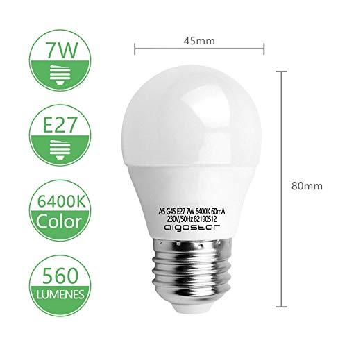 7W E27 Golf Ball Bulb, Aigostar G45 LED Lights Bulbs, 6400K Cool White Edison Screw Bulb 45W Incandescent Bulb… 6