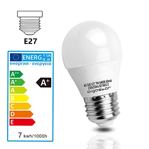 7W E27 Golf Ball Bulb, Aigostar G45 LED Lights Bulbs, 6400K Cool White Edison Screw Bulb 45W Incandescent Bulb… 8