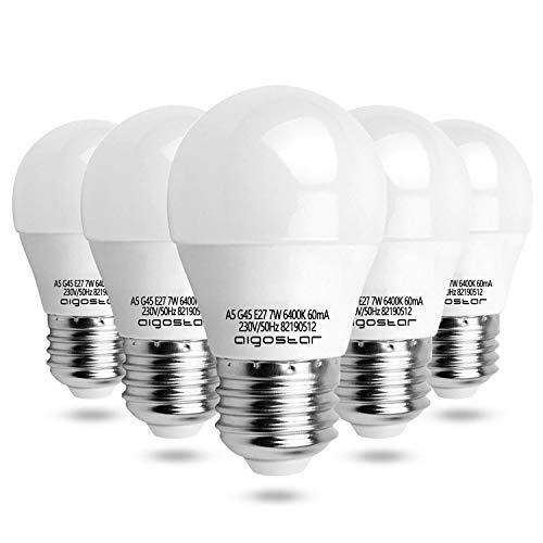 7W E27 Golf Ball Bulb, Aigostar G45 LED Lights Bulbs, 6400K Cool White Edison Screw Bulb 45W Incandescent Bulb… 1