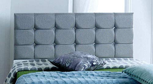 4FT6 Double FOOT JAMBO DRAWER Paris Grey Fabric Divan Bed Set, Memory Mattress and headboard.UK 3