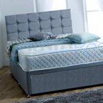 4FT6 Double FOOT JAMBO DRAWER Paris Grey Fabric Divan Bed Set, Memory Mattress and headboard.UK 11