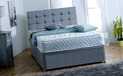 4FT6 Double FOOT JAMBO DRAWER Paris Grey Fabric Divan Bed Set, Memory Mattress and headboard.UK 1