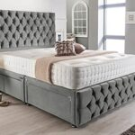 4FT6 Double Grey Plush Memory Foam Divan Bed Set With Tufted Mattress, 2 Drawers, Tall Headboard and Footboard 14