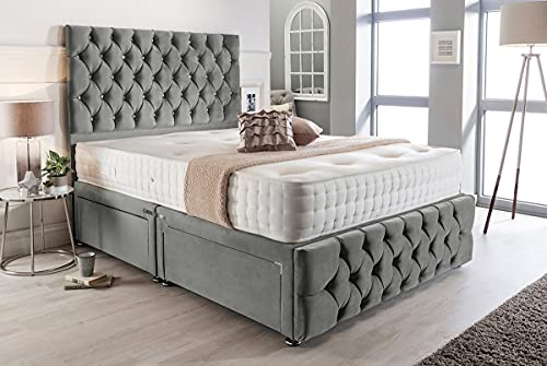 4FT6 Double Grey Plush Memory Foam Divan Bed Set With Tufted Mattress, 2 Drawers, Tall Headboard and Footboard 3