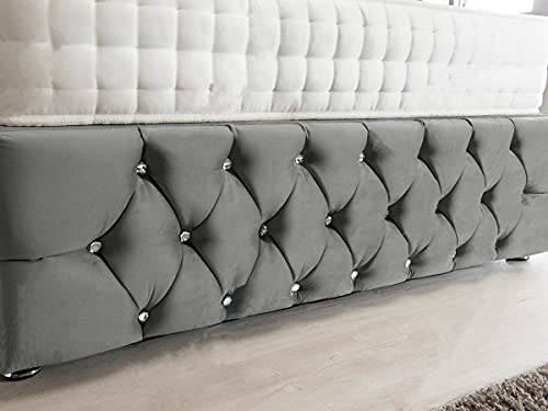 4FT6 Double Grey Plush Memory Foam Divan Bed Set With Tufted Mattress, 2 Drawers, Tall Headboard and Footboard 4