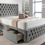 4FT6 Double Grey Plush Memory Foam Divan Bed Set With Tufted Mattress, 2 Drawers, Tall Headboard and Footboard 13