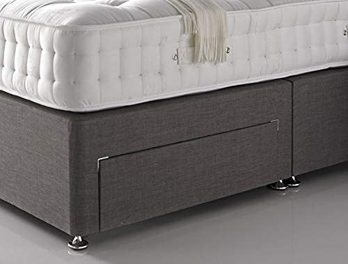 4FT6 Double Linen Look Divan Bed with Mattress and Headboard - 2 Free Drawers (drawers will be on same side) 3