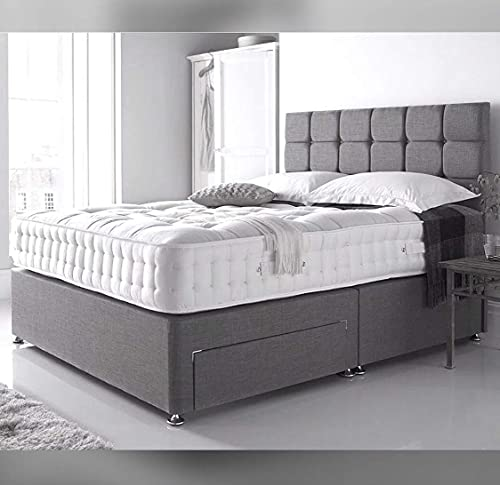 4FT6 Double Linen Look Divan Bed with Mattress and Headboard - 2 Free Drawers (drawers will be on same side) 7