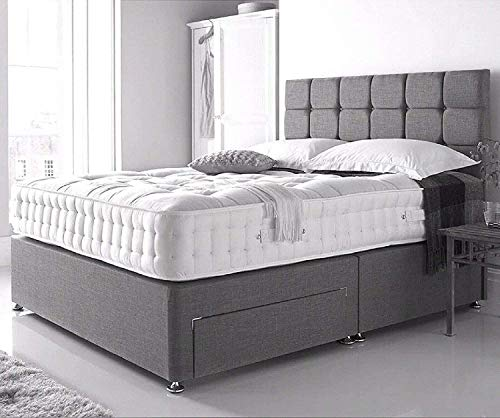 """4FT Small Double Grey Linen Look Divan Bed with Mattress 10"""", Plain Matching Colour Headboard 20"""" and 2 free Storage drawers (4FT small double, grey linen look) 3"""