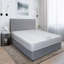 """4FT Small Double Grey Linen Look Divan Bed with Mattress 10"""", Plain Matching Colour Headboard 20"""" and 2 free Storage drawers (4FT small double, grey linen look) 4"""
