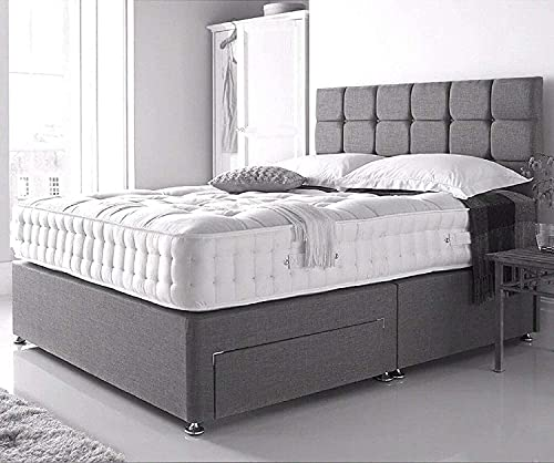 5ft King Size Grey Linen Look Divan Bed With Memory Foam Mattress And Matching Headboard - 2 Free Storage Drawers… 3