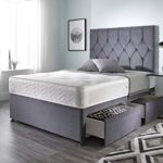 Bed Centre Ziggy Grey Plush Memory Foam Divan Bed Set With Mattress, 2 Drawers (Same Side) and Headboard (Single (90cm X… 9