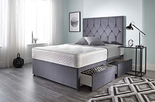 Bed Centre Ziggy Grey Plush Memory Foam Divan Bed Set With Mattress, 2 Drawers (Same Side) and Headboard (Single (90cm X… 2