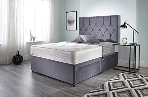 Bed Centre Ziggy Grey Plush Sprung Memory Foam Divan Bed Set With Mattress, 2 Drawers (Bottom Base) And Headboard (Small… 1