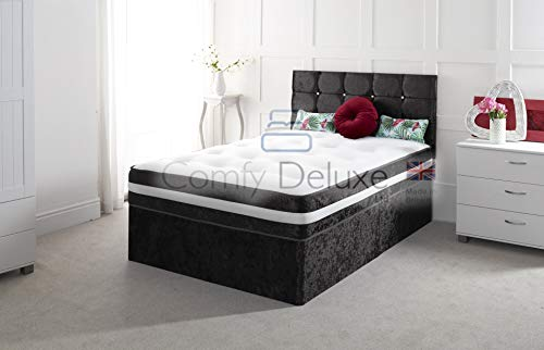 Crushed Velvet Divan Bed Set with Mattress and Free HEADBOARD!!!!! (Black, 3FT - 0 Draw) 1
