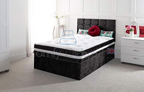 Crushed Velvet Divan Bed with | Mattress | HEADBOARD | Storage Drawers (2FT6 O Drawers, Black Crush) 1
