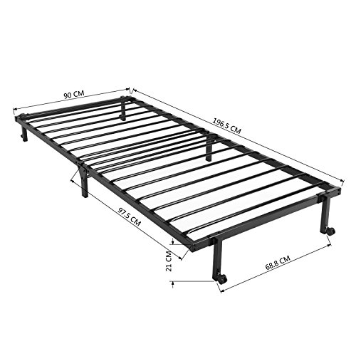 EGGREE 3FT Single Folding Bed Frame Metal Bed Base with Lockable Wheel Guest Bed Portable Bed- Black 190 x 90cm 3